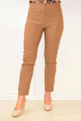 Tan Trousers With Elasticated Waist