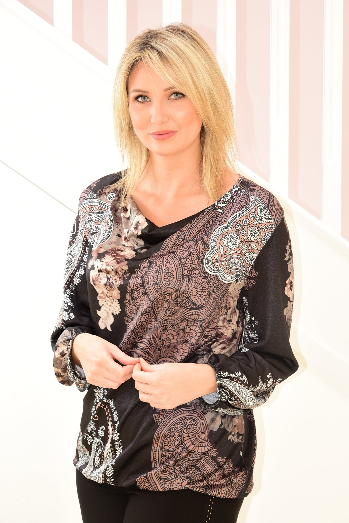 Top With Cowl Neckline and Paisley Design