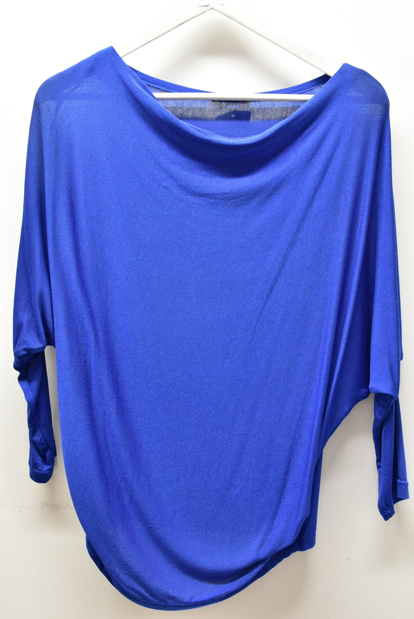 Royal Blue Cowl Neck Top With Long Sleeves