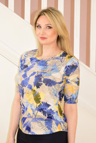 Blue and Yellow T-Shirt With Leaf Design