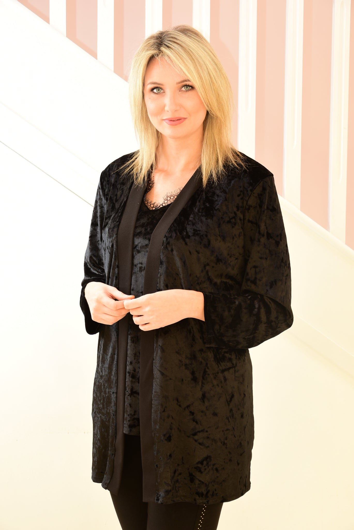 2 Piece Velvet Kimono Jacket and Sleeveless Top Black