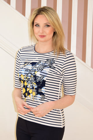 White and Navy Stripe T-Shirt With Floral Graphic