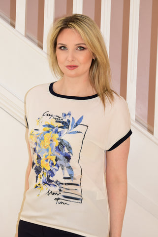 Cream T-Shirt With Floral Graphic