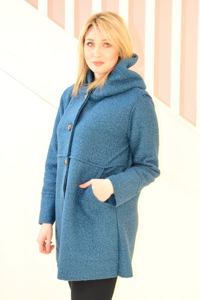 Teal Boucle Jacket With Buttons