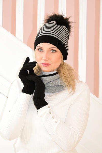 Grey and Black Hanna Beanie, Gloves and Snood Set With Shimmer
