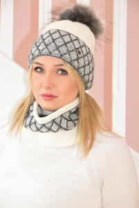 Cream and Charcoal Karina Beanie and Snood Set With Beads