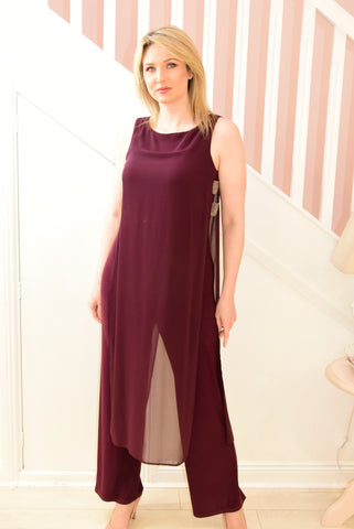 Plum Jumpsuit With Sheer Cape and Diamante Detail