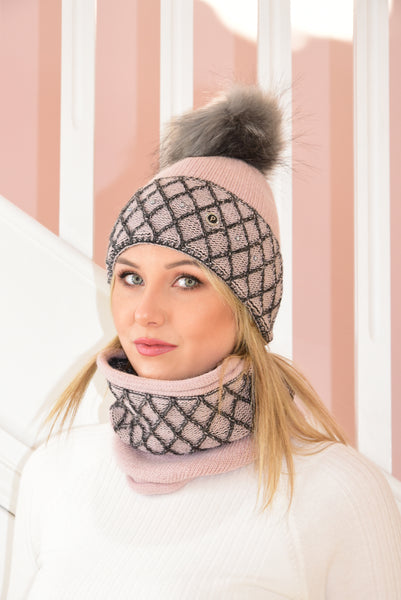 Pink and Charcoal Karina Beanie and Snood Set With Beads