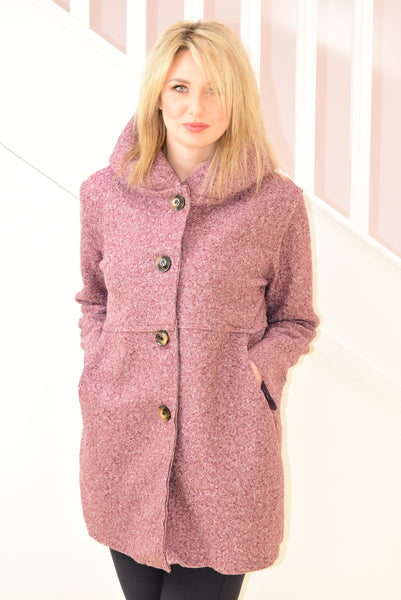 Mauve Boucle Jacket With Buttons