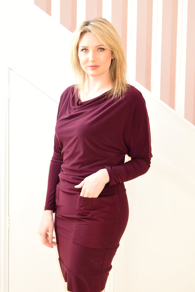 Plum Dress With Pockets