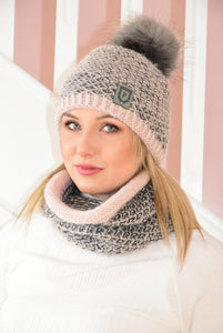 Pink Nina Beanie and Snood Set With Charcoal Features