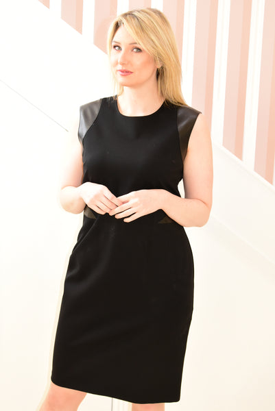 Black Sleeveless Dress with Leather Detail