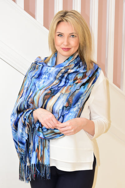 Large Blue Scarf With Multicoloured Watercolour Paint Design