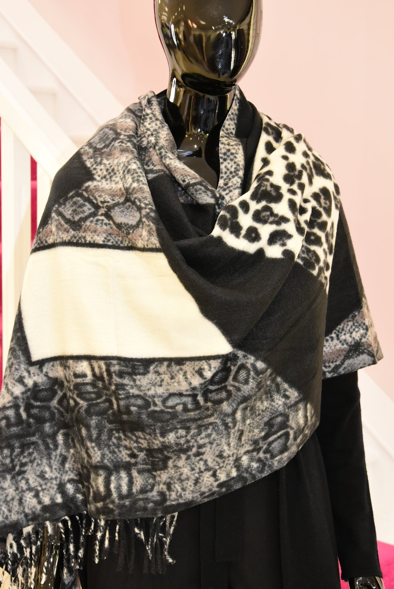 Black Chunky Scarf With Multiple Animal Prints