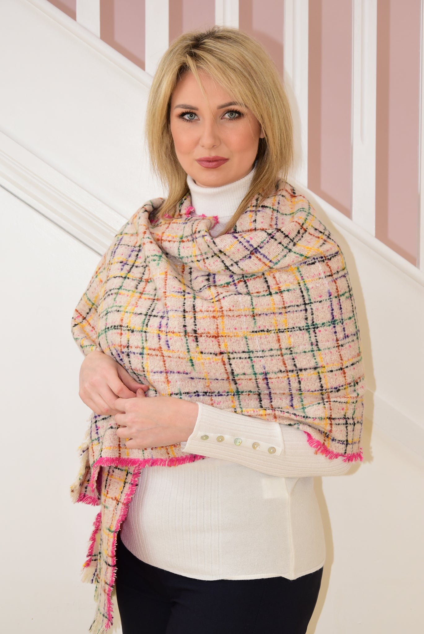 Pink Scarf With Multicolour Check Design