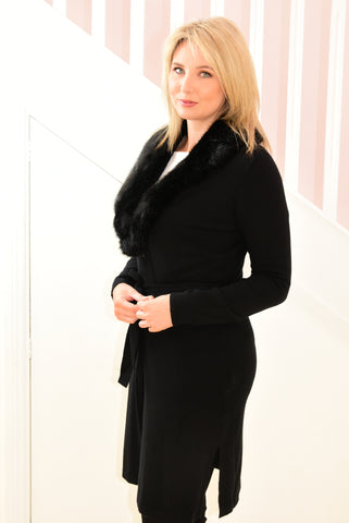 Long, Black Cardigan With Detachable Faux Fur Collar