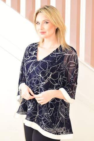 Navy Sheer Layered Tunic With White Line Floral Design