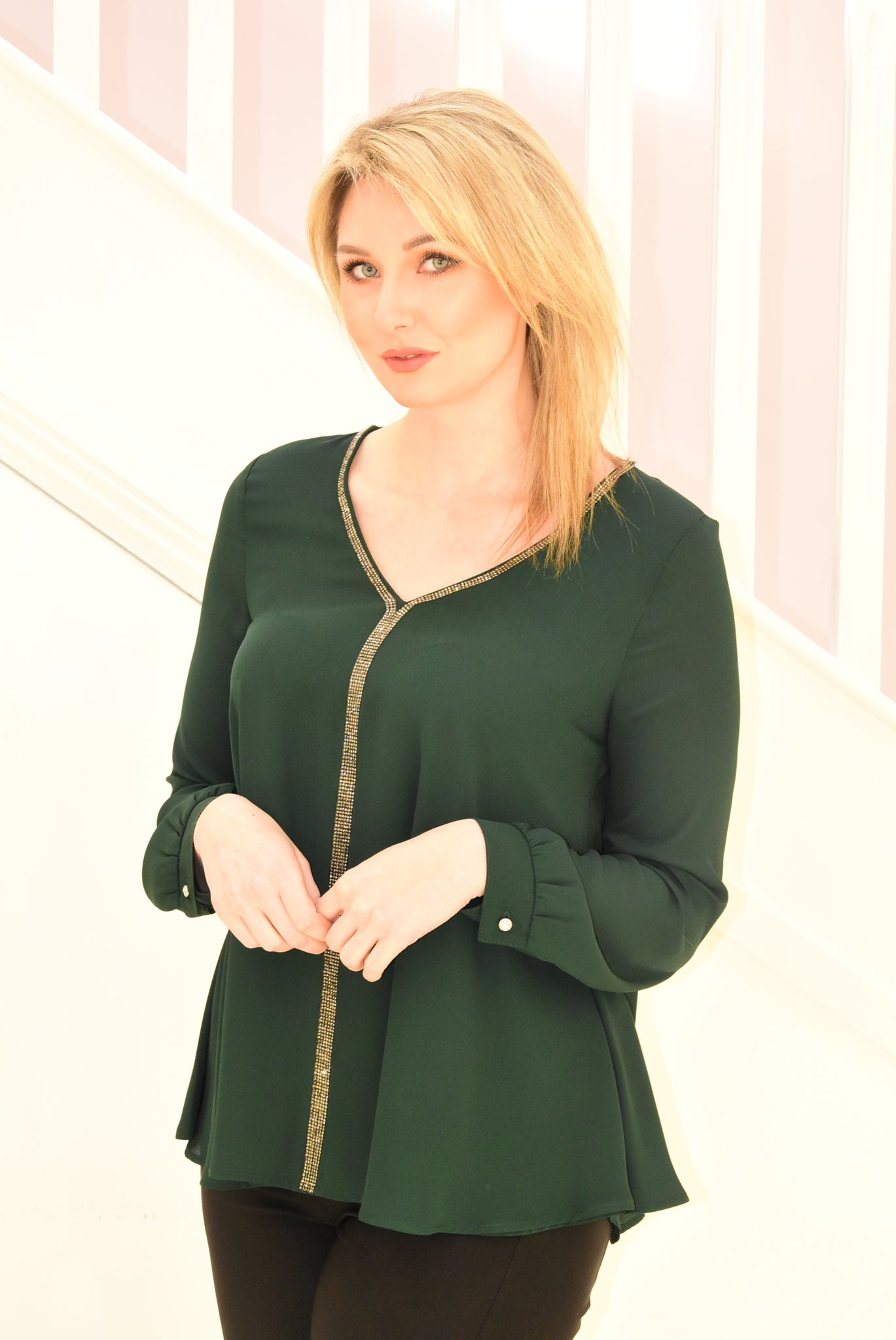 Emerald Green Top With Diamante V-Neck Detail