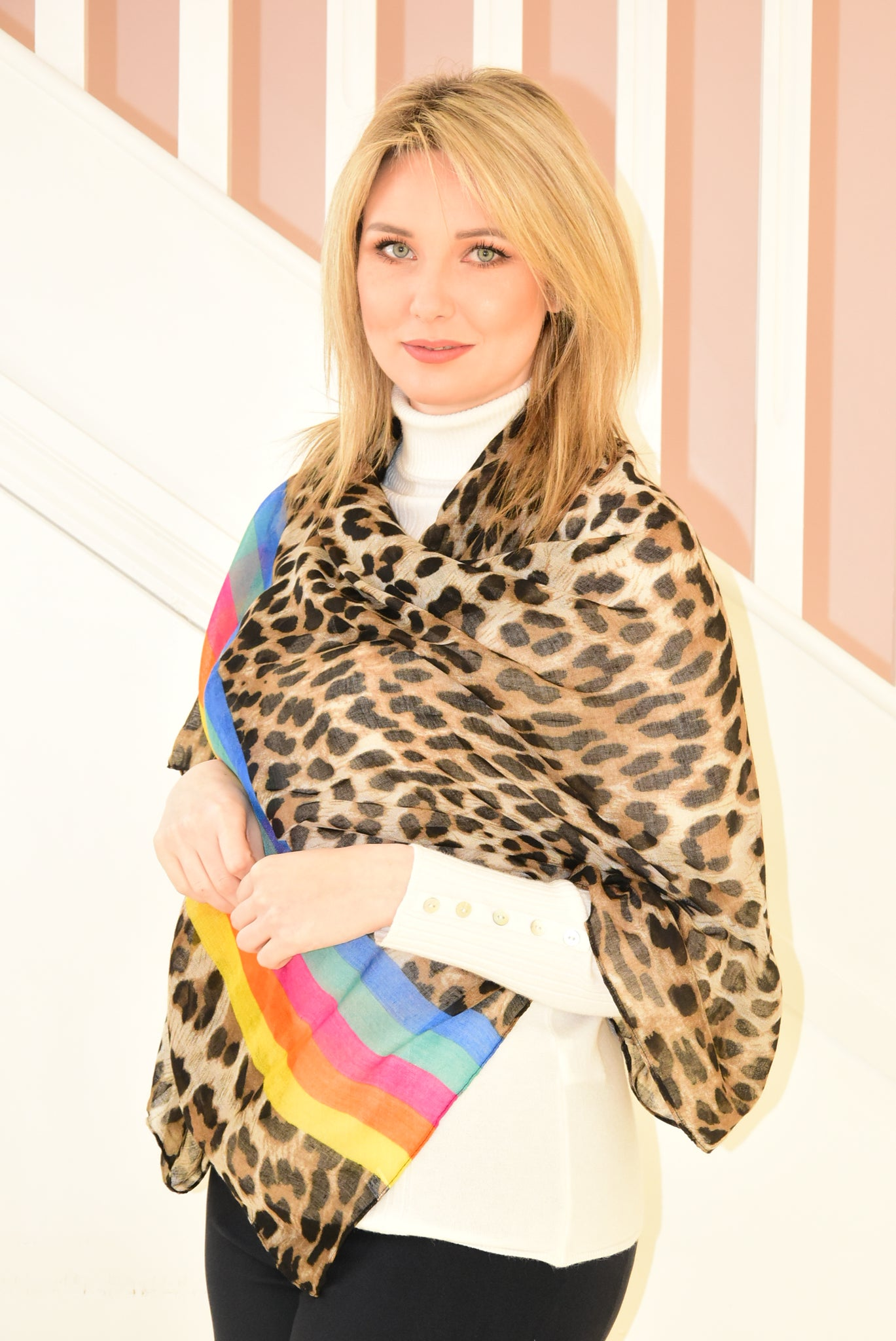 Thin Leopard Print Scarf with Multicolour Stripes