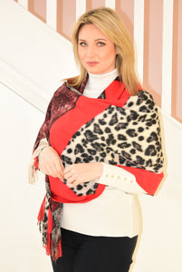 Red Chunky Scarf With Multiple Animal Prints