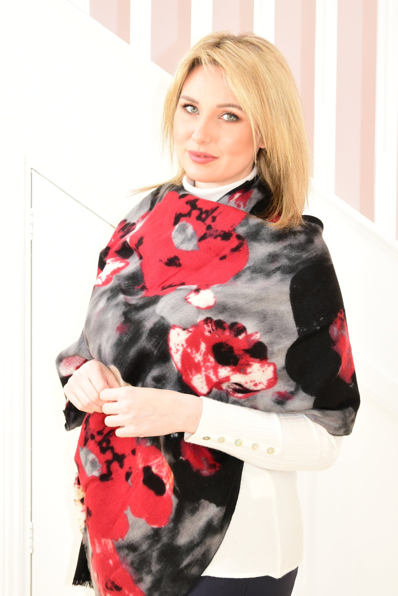 Black Scarf With Abstract Red Floral Design
