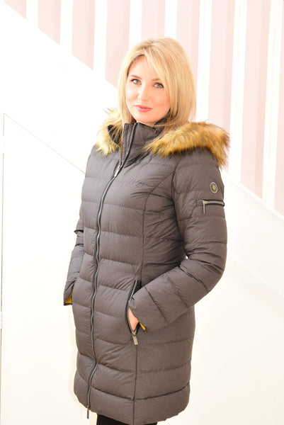 Charcoal Down Feather Coat With Faux Fur Hood