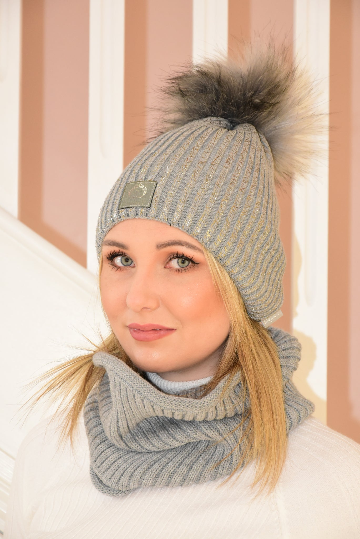 Grey Knit Beanie and Snood Set with Silver Detail