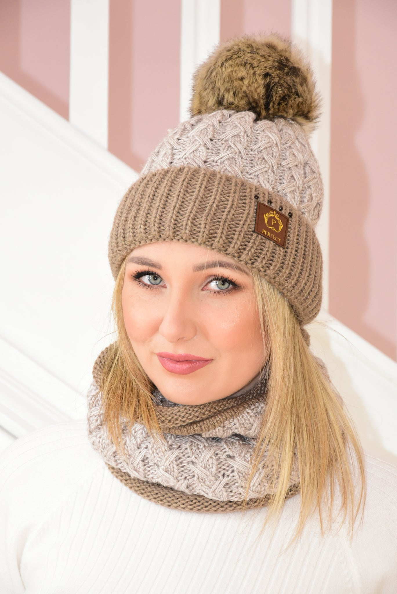 Taupe and Brown Cable Knit Beanie and Snood Set