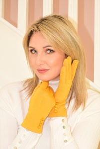 Mustard Yellow Gloves with Buttons on Cuff