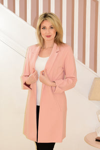 Rose Long Jacket With Turn Up At Cuff