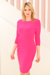 Hyper Pink Dress With Ruching Frill & Buttons