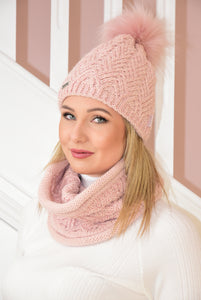 Pink Knit Beanie and Snood Set With Shimmer Detail