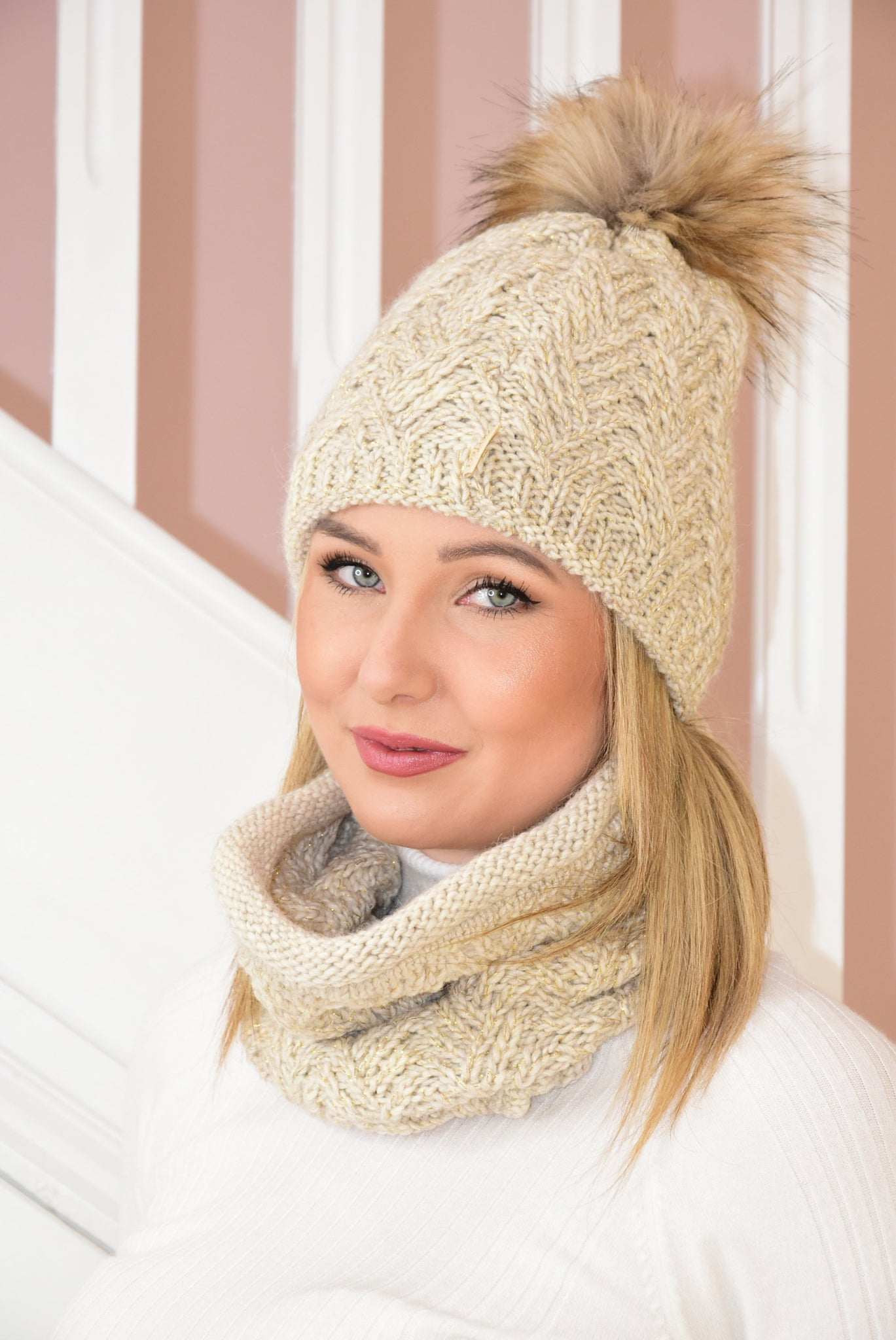 Beige Knit Beanie and Snood Set With Shimmer Detail