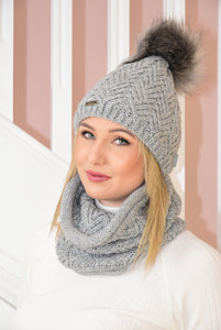 Grey Knit Beanie and Snood Set With Shimmer Detail