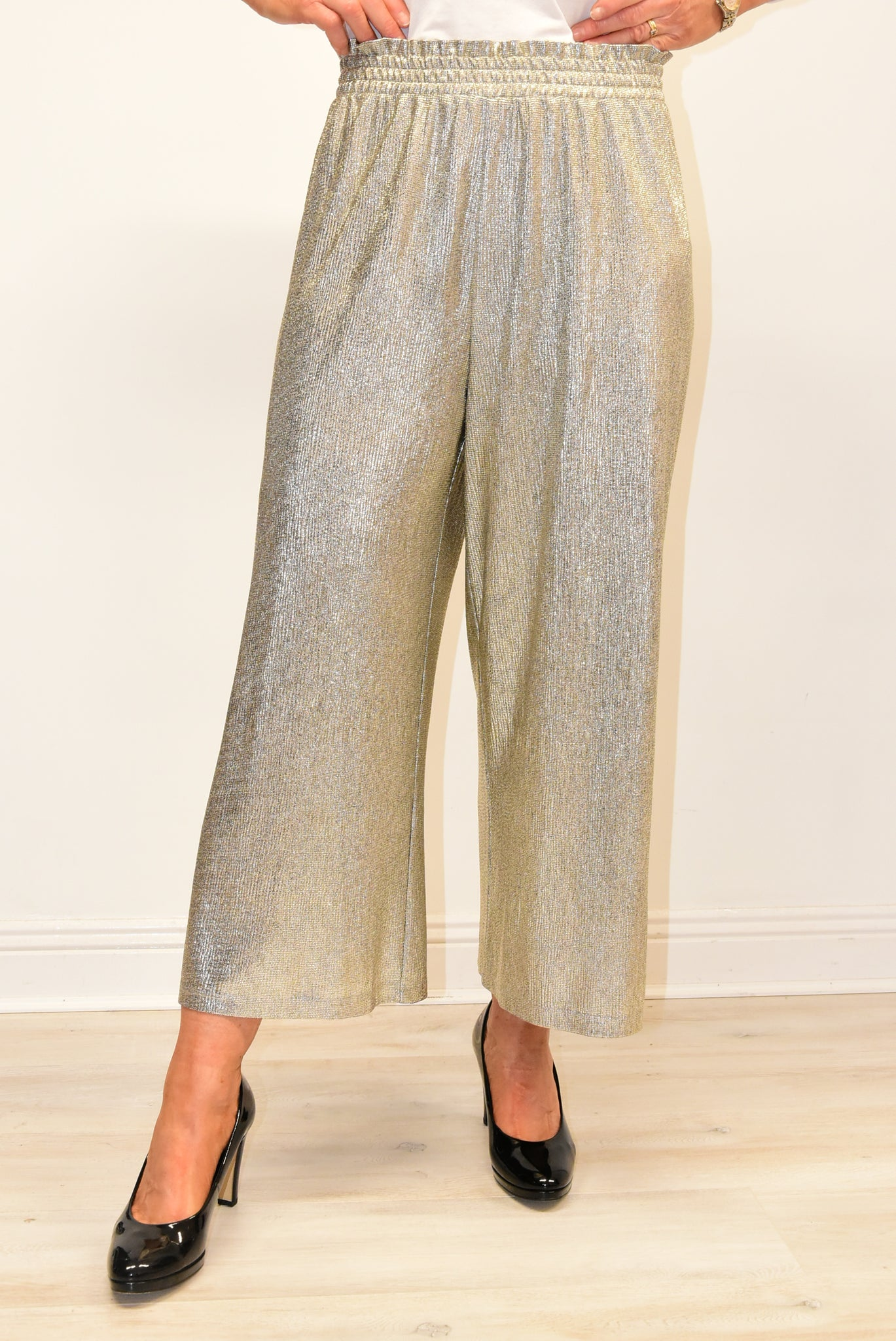 Metallic Effect Trousers with With Elasticated Band