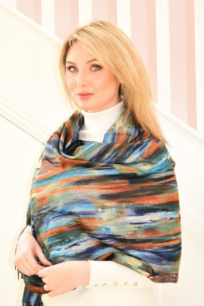 Multicolour, Multi-Pattern Scarf Blue and Navy