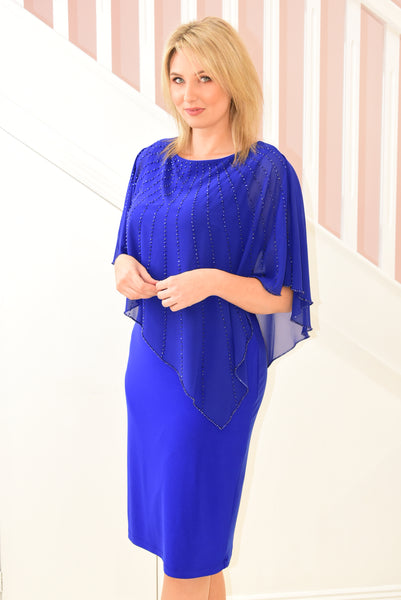 Royal Blue Dress With Jeweled Shoulder Cover