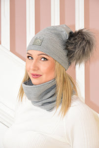 Grey Beanie and Snood Set With Shimmer Detail