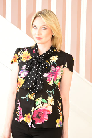 Black Blouse With Watercolour Floral Design and Neck Tie