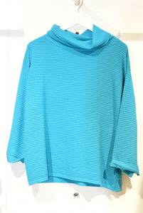 Teal Ribbed Jumper With Cowl Neck