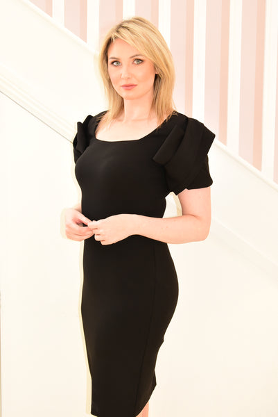 Black Dress with Knot Design Sleeves