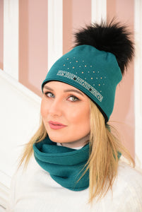 Teal Beanie and Snood Set With Diamante Detail