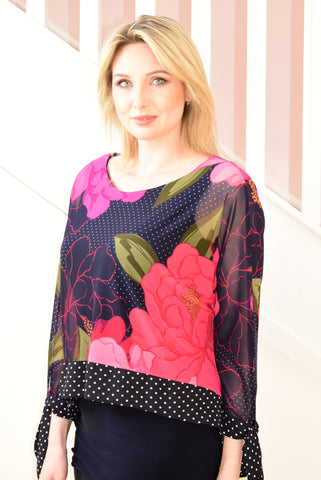 Navy Layered Tunic With Pink Floral Design