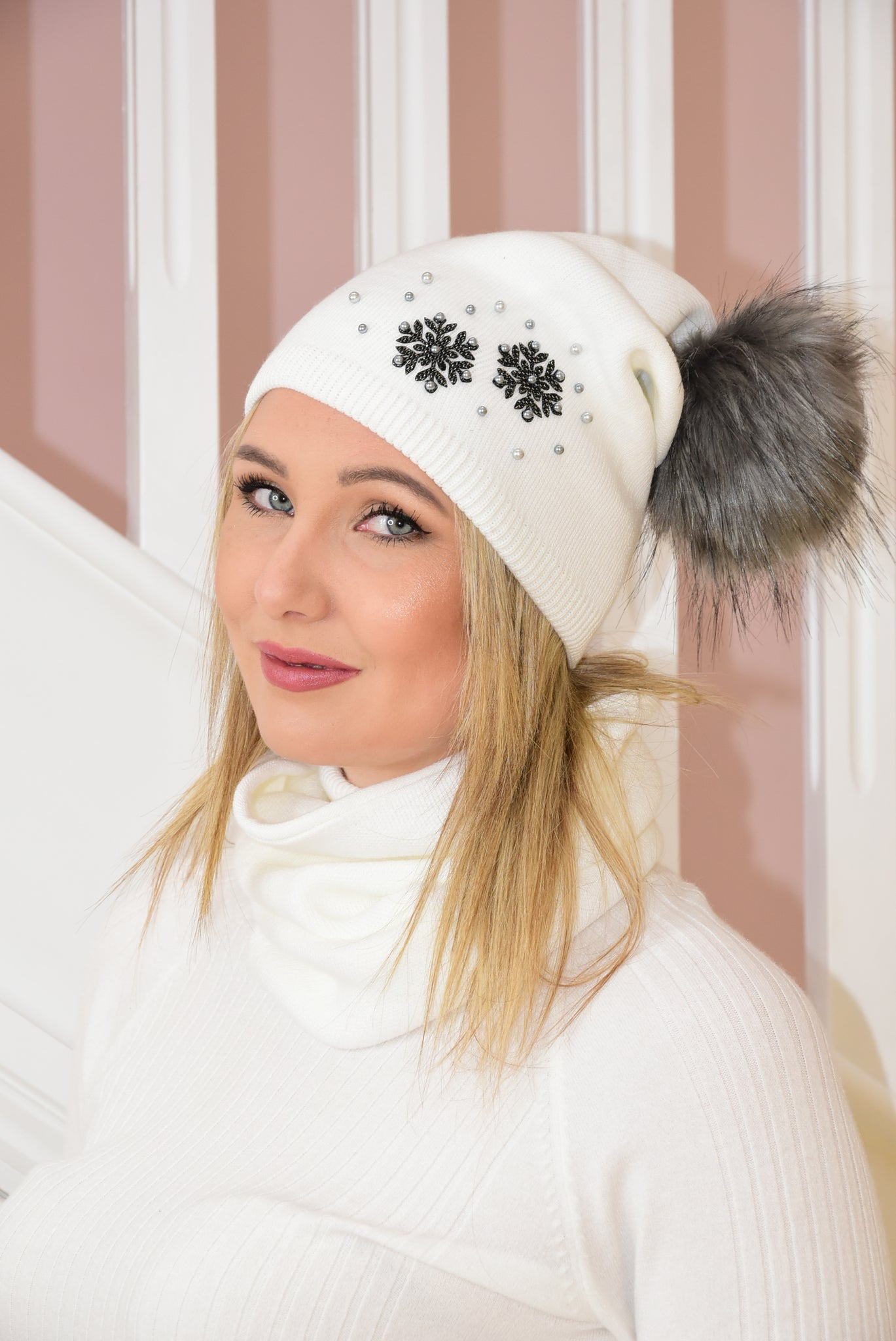 Cream Beanie and Snood Set With Snow Flake Detail