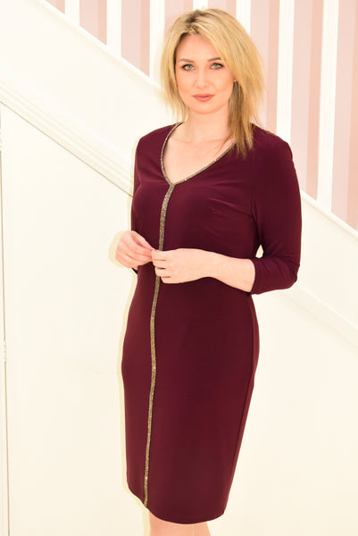Deep Berry Long Sleeve Dress With Diamante Strip