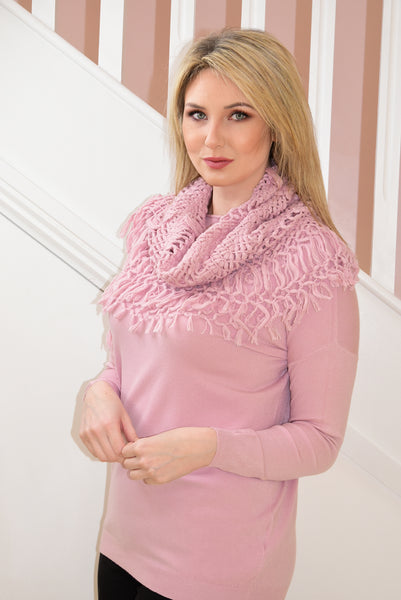 Plain Pink Jumper with Matching Snood