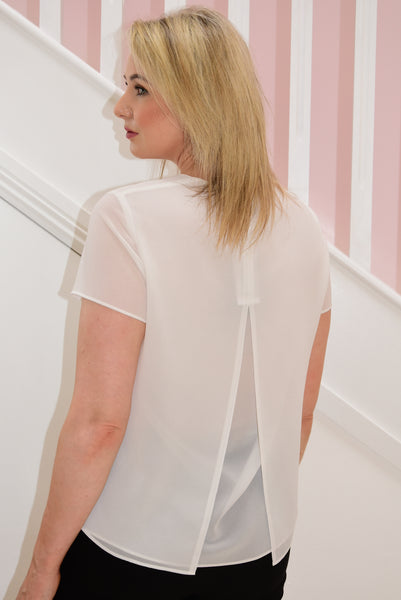Off White Layered Top With Back Split