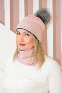 Pink and Grey Beanie and Snood Set
