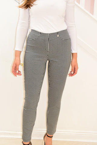 Black/White 'Bella' Checked Pattern Trousers