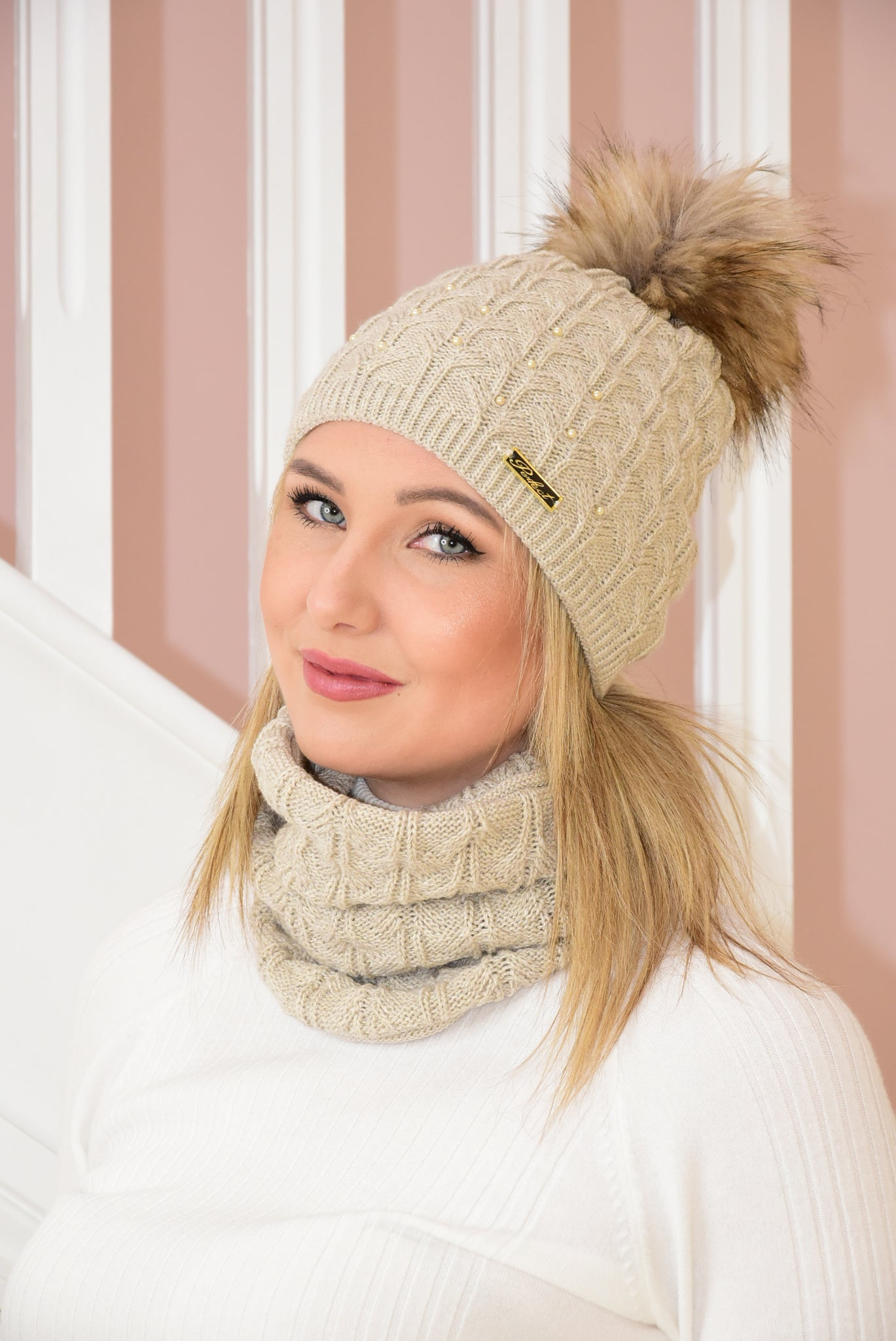 Beige Knit Beanie and Snood Set With Bead Detail